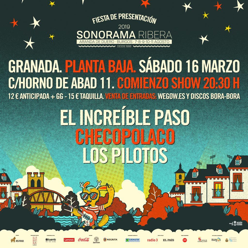 Fiesta Presentación SONORAMA: EL INCREÍBLE PASO + CHECOPOLACO + LOS PILOTOS Planta Baja
